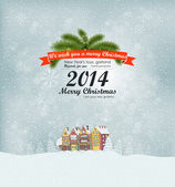 Merry Christmas Landscape. — Vector de stock