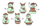 Set Christmas Snowman — Stock Vector