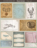 Scrapbooking set. old paper textures — Stock Vector