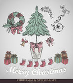 Christmas decoration collection. — Stockvector