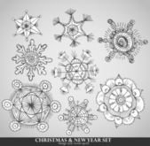 Collection of 8 different snowflakes — Vector de stock