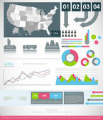 Detail modern infographic with Map of USA — 图库矢量图片