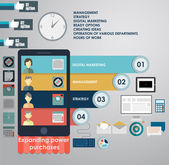 Iconos para el marketing móvil, marketing por correo electrónico — Vector de stock