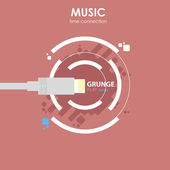 USB design music connection — Stock Vector