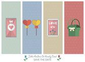 Beautiful set of 4 stylish banners, wedding invitations — Stock Vector