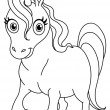 Stock Vector: Outlined cute unicorn