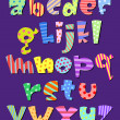 Stock Vector: Lower case comic alphabet