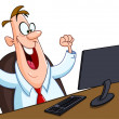 Happy man with computer — Stock Vector