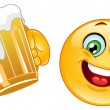 emoticon with beer — Stock Vector