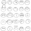 Stock Vector: Emoticon doodles