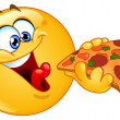 Emoticon eating pizza — Stock Vector