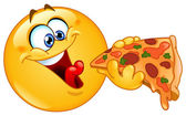 Emoticon eating pizza — Vetor de Stock