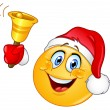 Christmas emoticon with bell — Vettoriali Stock