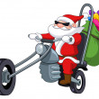 Santa with motorcycle - Stock Vector