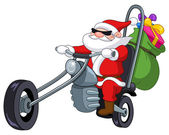 Santa with motorcycle — Stock Vector