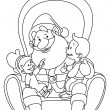 Outlined Santa with kids — Stok Vektör
