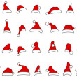Santa hats doodles — Stock Vector #14535749