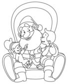 Outlined Santa with kids — Stock Vector