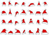 Santa hats doodles — Stock Vector