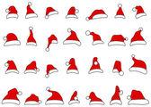 サンタ帽子ホリデーロゴbeskrivs santa med barn — ストックベクタ
