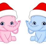 Christmas baby elephants — Stock Vector