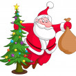 Santa with Christmas tree — Stock Vector
