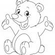 Outlined happy teddy bear — Vector de stock  #16509641
