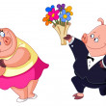 Loving pigs — Stock Vector