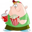 Stock Vector: Kid with popcorn and soda