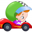 Kid race car driver — Stock Vector