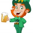 Stock Vector: Leprechaun with beer