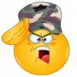 Soldier saluting emoticon — Stock Vector
