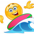 Surfing emoticon — Stock Vector