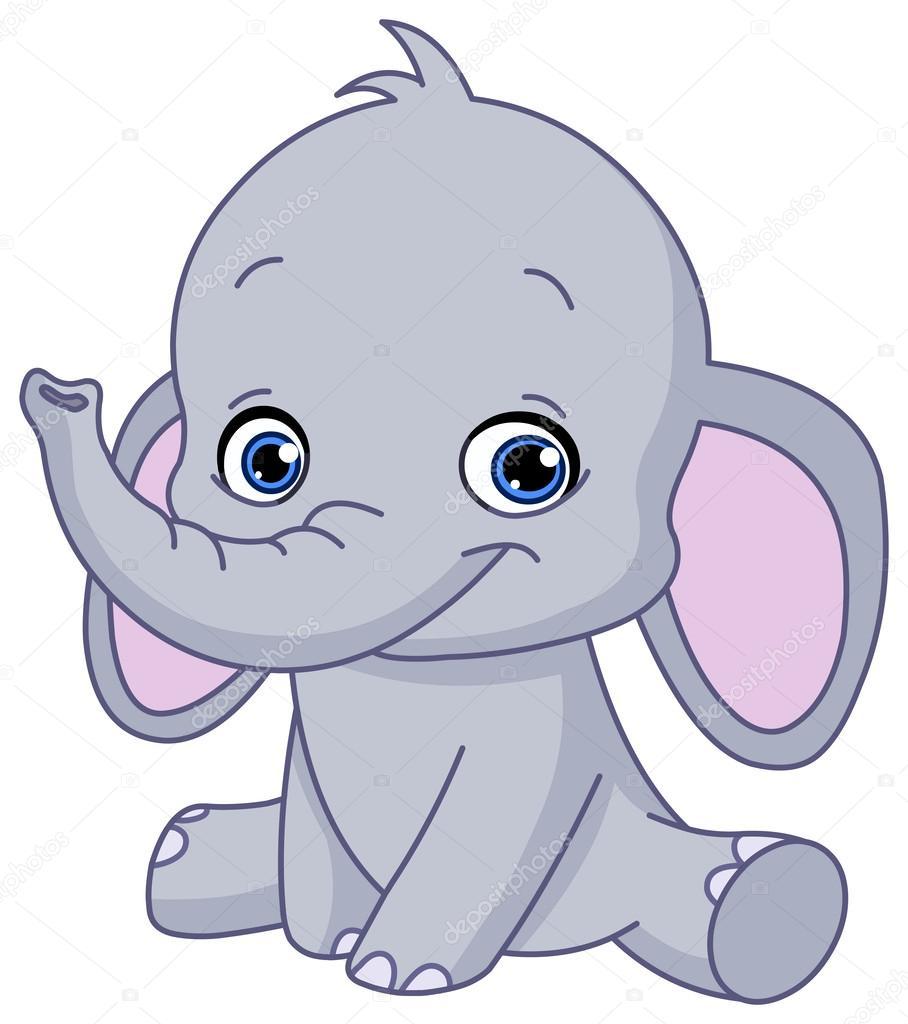 Beb elefante vector de stock 25402317 depositphotos - Dibujos infantiles de bebes ...