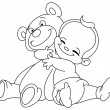 Stock Vector: Outlined baby hug bear