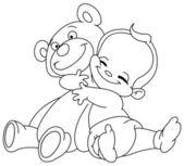 Outlined baby hug bear — Stock Vector