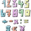 Colorful sketchy hand drawn numbers — Stock Vector