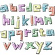 Colorful sketchy hand drawn lower case alphabet — Stock Vector