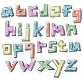 красочные схематичный рука нарисованные нижний регистр алфавит — Cтоковый вектор