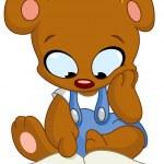 Teddy bear reading book — Stock Vector