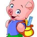 School pig — Stock Vector