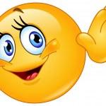 Female emoticon waving hello — Stock Vector