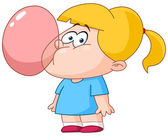 Girl blowing bubble from gum — Stock Vector