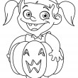 Stock Vector: Outlined pumpkin kid