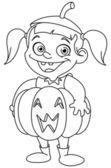 Outlined pumpkin kid — Stock Vector