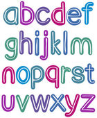 Colorful lower case brush alphabet — Stock Vector
