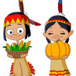 Stock Vector: American Indian children