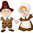 Stock Vector: Pilgrim couple