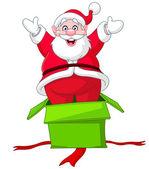 Santa jumps from gift box — Stock Vector