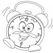 Outlined cartoon alarm clock — Vector de stock